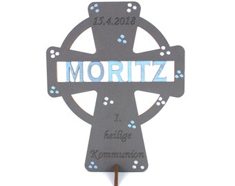 Wooden Cross Communion with Name and Date, Decoration, Cross, Communion Gift