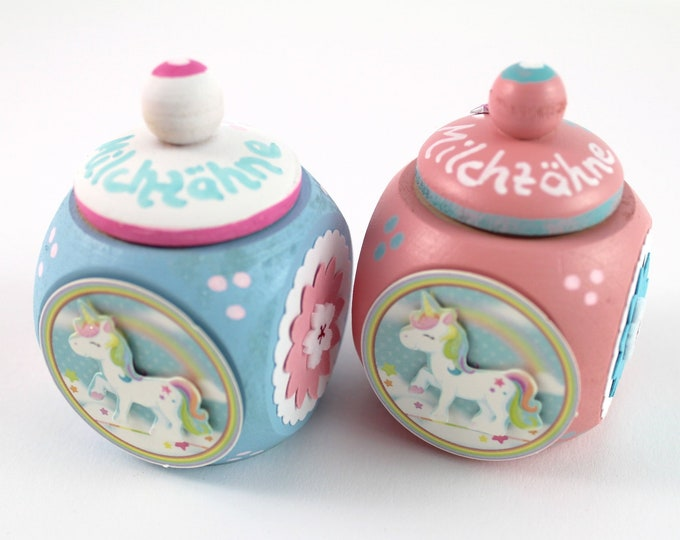 Dental can milk tooth can with name and unicorn