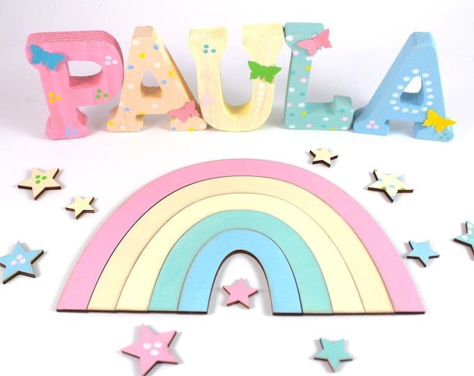 Wooden letters, door letters, nursery letters, rainbow