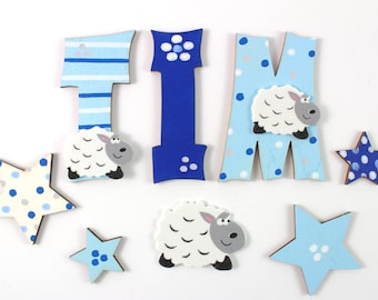 Wooden Letters, Door Letters, Nursery, Letters - Sheep, Sheep