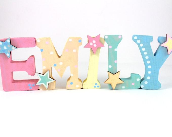 Wooden letter rainbow baby girl