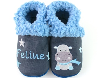 Lined crawling shoes with plush lining
