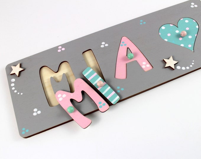 Puzzle Name Plug Puzzle Baby Baptism Gift Name Puzzle Wooden Puzzle
