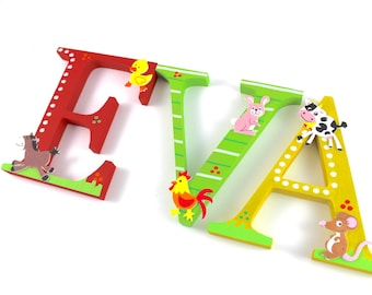 Wooden letters XXL 15 cm, large door letters, also suitable for putting up - farm animals, farm, wooden letters nursery door