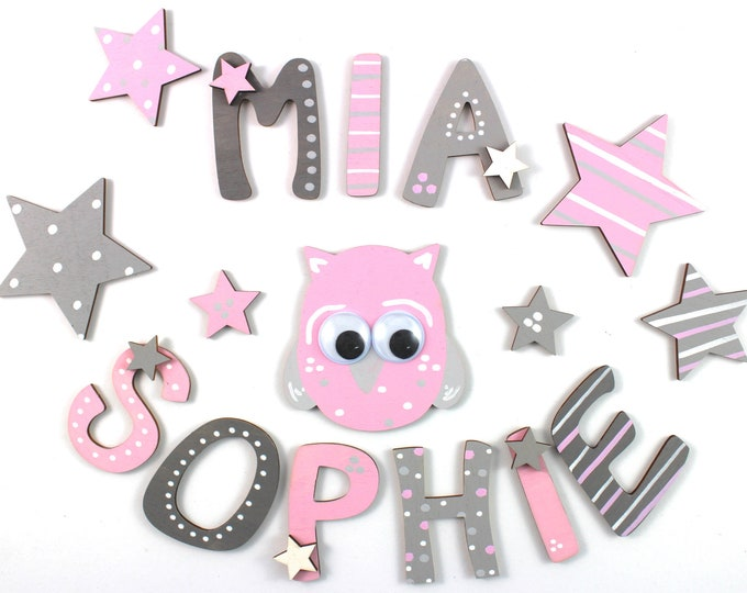 Wooden letters, door letters, custom letters, wooden letters nursery - stars and owl, pink, blush, light grey