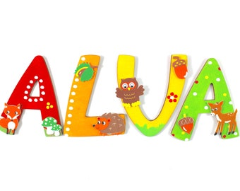 Wooden Letters, Forest Animals, Baby, Door Letters, Wooden Letters Nursery, Wooden Letters Nursery Door