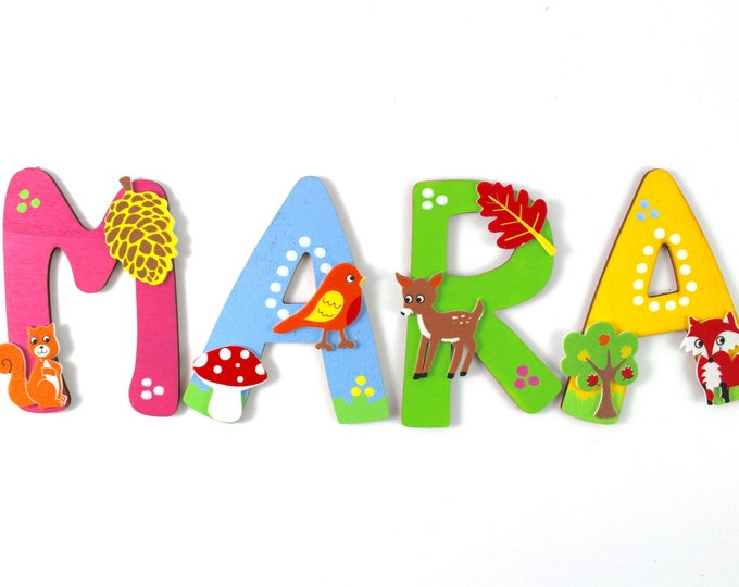 Wooden letter forest animals