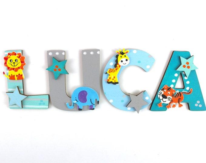 Wooden letters children's room door animals