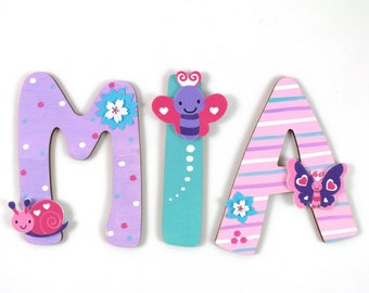 wooden letters, door letters, wooden letters 10 cm, favorite shops - butterflies, snails, caterpillars