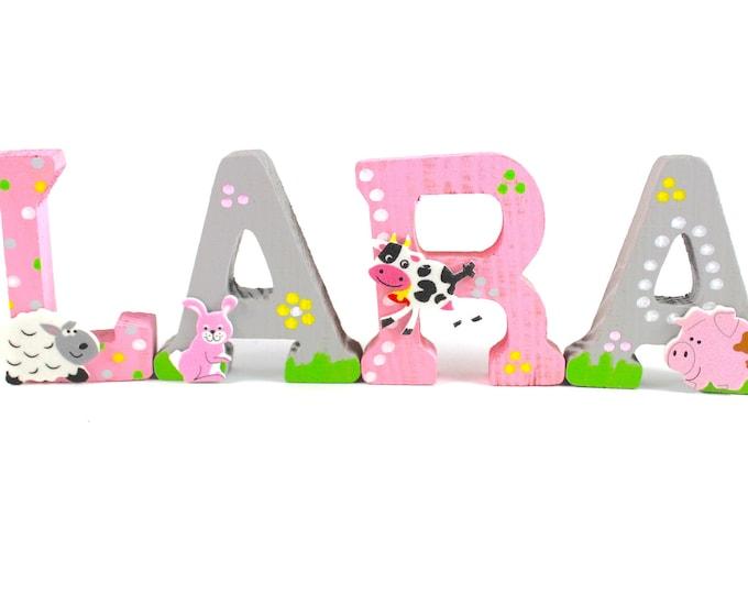 Wooden letters, door letters, nursery letters, animals, farm