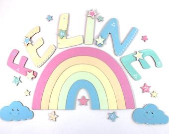 Wooden letter rainbow, door letters, wooden letters 10 cm, nursery door, baby - stars, pastel, candy colors, clouds, rainbow