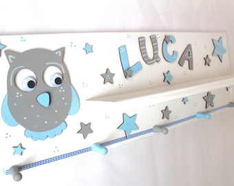 Wardrobe, children, kindergarten room, with discharge board-owl, baby blue, light blue, grey