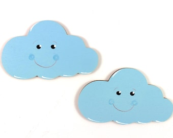 2 clouds of wood, wooden clouds, wooden motifs clouds, baby