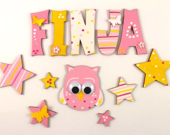 Wooden letters, door letters, nursery, letters - butterflies, pink, yellow