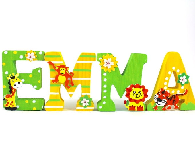 Wooden letters large jungle animals