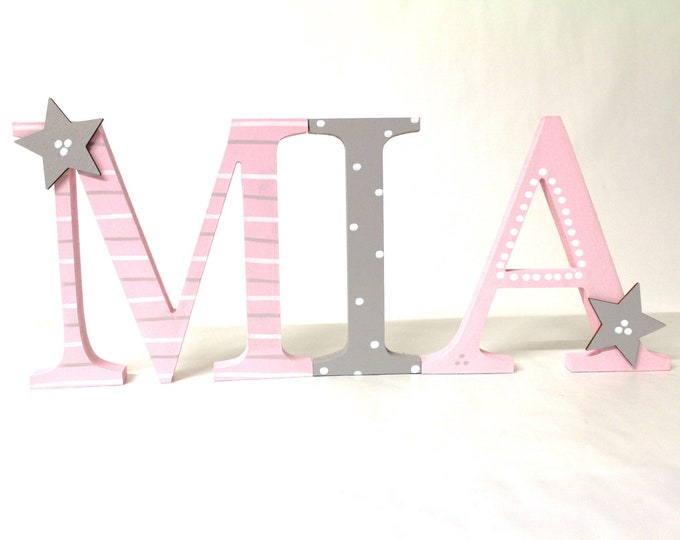 Wood Letter xxl 15 cm, large Türbuchstaben, also suitable for use in places-blush, taupe, light pink, light grey