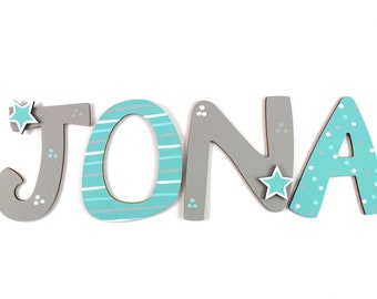 Wooden letters, door letters, letters, children's room door-light grey, mint-stars