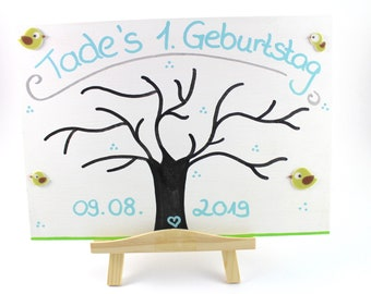 Fingerprint Tree, Baptism, Fingerprints, Wedding, Guest Book-with easel
