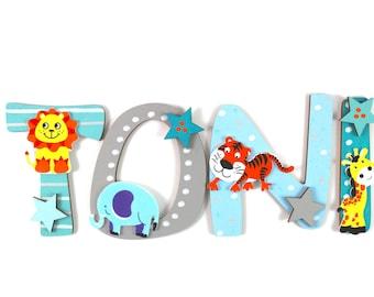 Wooden Letters, Door Letters, Nursery Door - Jungle Animals, Name