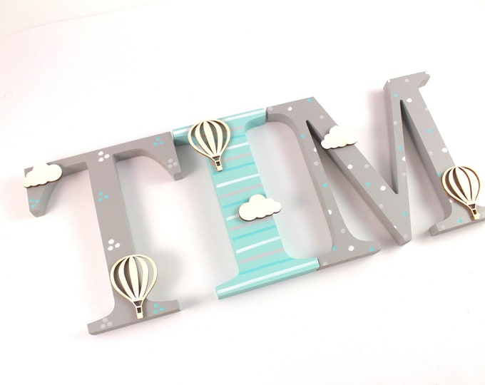 Wooden letters XXL 15 cm, large door letters, also suitable for putting up - hot air balloon, clouds, mint, wooden letters nursery door