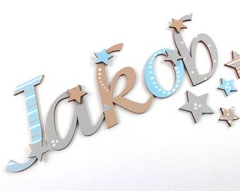 Wooden letters stars, door letters, wooden letters nursery, nursery door, writing letters