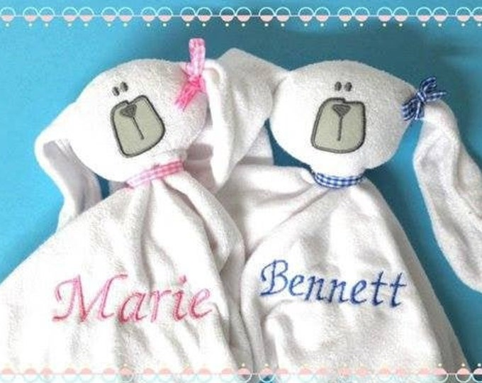 Cuddly cloth with the name schnuffeltuch Hase