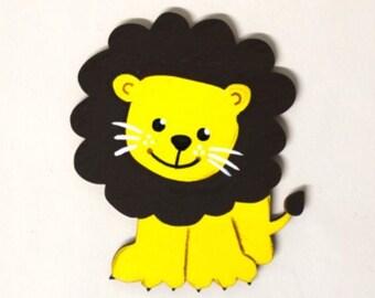 wooden motif lion, 10 cm, nursery door, baby, wooden letters