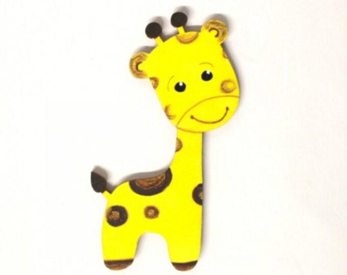 wooden motif giraffe, 10 cm, nursery door, baby, wooden letters