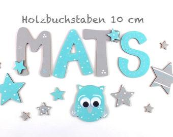 Wooden letters, Türbuchstaben, wooden letters 10 cm, favorite shops-turquoise, grey, stars