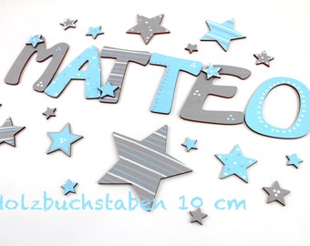 Wooden letters, Türbuchstaben, wooden letters 10 cm, favorite shops stars, baby blue, light grey