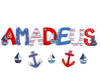 Wooden letters, door letters, custom letters, wooden letters nursery - maritime, sailboats