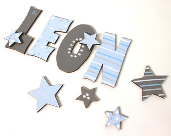 Wooden letters, door letters, nursery, letters - favorite shop - stars, baby blue