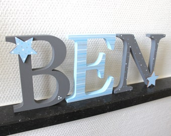 Wooden Letter xxl 15 cm, large Türbuchstaben, also suitable for place-stars, baby blue, grey