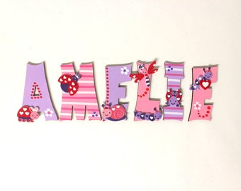 Wooden letters, Türbuchstaben, children's rooms, letters-favorite shops-beetles butterflies, lilac, pink