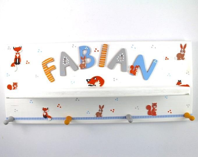 Wardrobe, nursery with discard board, individual wardrobe-forest animals, fox, foxes