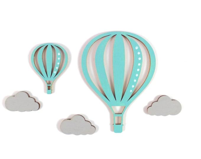 Motif set hot air balloon and clouds, hot air balloon wood, wood motifs, clouds, matching wooden letters