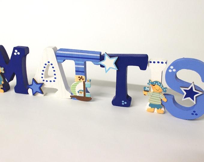 Wooden letters children's room door pirates and stars