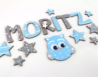 Wooden Letters, Door Letters, Custom Letters, Favorite Shops - Stars and Owls