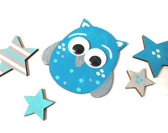 Owl 8 cm + 4 stars matching wood letters