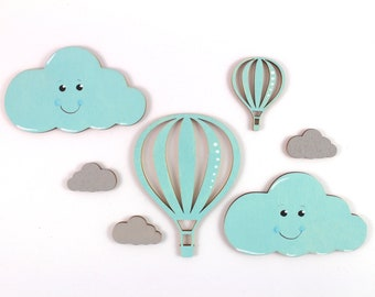 Motif Set Hot Air Balloon and Clouds Wood Baby