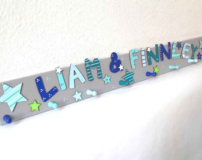 Sibling wardrobe, wardrobe for two children, children's wardrobe, favorite shops, stars-light grey, mint, blue