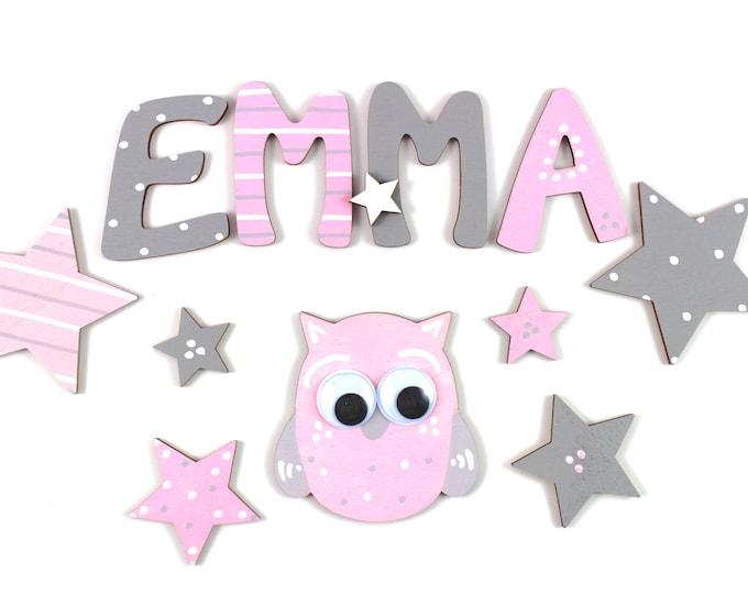 Wooden letters, door letters, nursery, nursery door - stars, pink, light grey