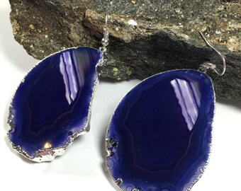 Purple Agate Slice earrings  ,Geode earrings, Druzy earrings , long earrings, Silver earrings, Earrings, Gift for her, dangle earrings