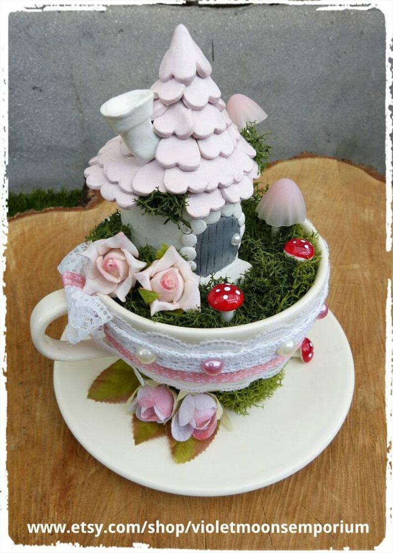 Pixie House in a Vintage Tea Cup Fairy Garden Miniatures Tea Cup Scene Pixie Secret Trinket Box Home is where the Heart is