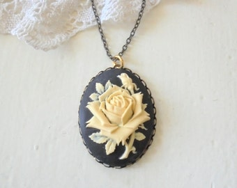 Cream Rose on Black Cameo Necklace, Personalised Floral Necklace, Large Cameo Pendant, Victorian Style, Long Layering Necklace