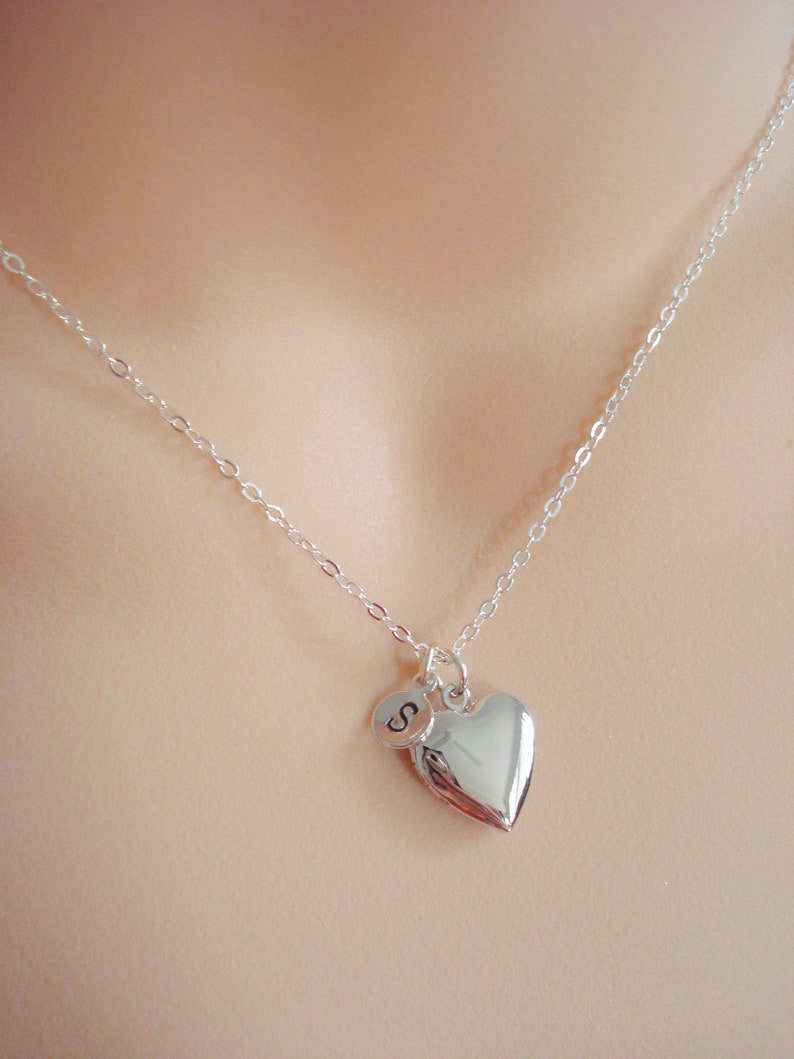 Birthstone Locket Jewelry Custom Bridesmaid Locket Personalised Heart Necklace Small Heart Locket in Silver Gold or Rose Gold