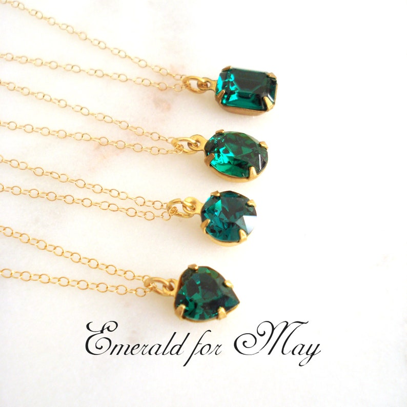 58a4c6bc0 Emerald Crystal Necklace on 14K Gold Filled Chain May   Etsy