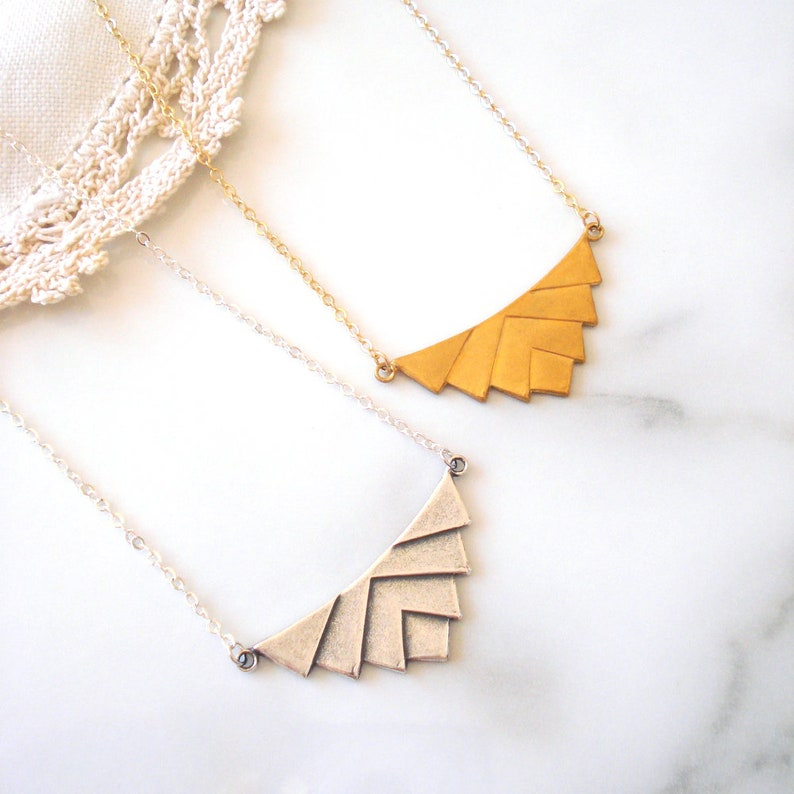 Gift for Her Geometric Chevron Necklace in Antiqued Silver or Gold Art Deco Inspired Layering Necklace