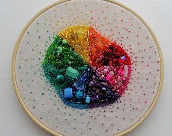 Rainbow Supernova 6 Inch Hand Embroidered Hoop Art
