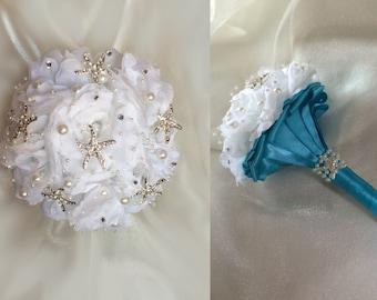 Beach Bouquet, Bridesmaid Bouquet, Brooch Bouquet, Destination Wedding Bouquet, Mini Bouquet, Choose your accent color
